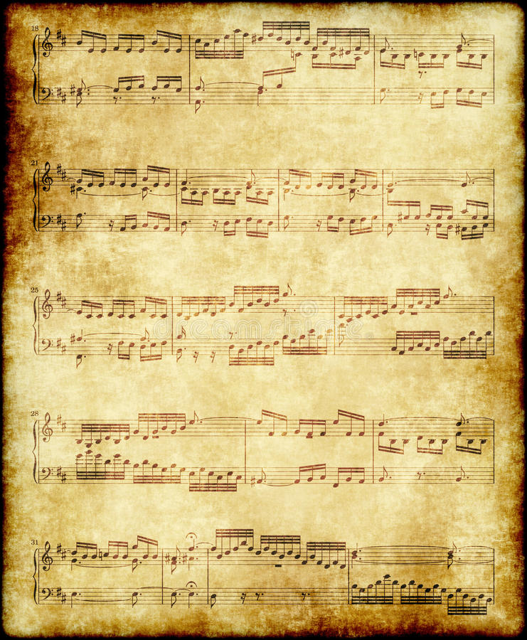 Note di musica su vecchio documento immagini stock
