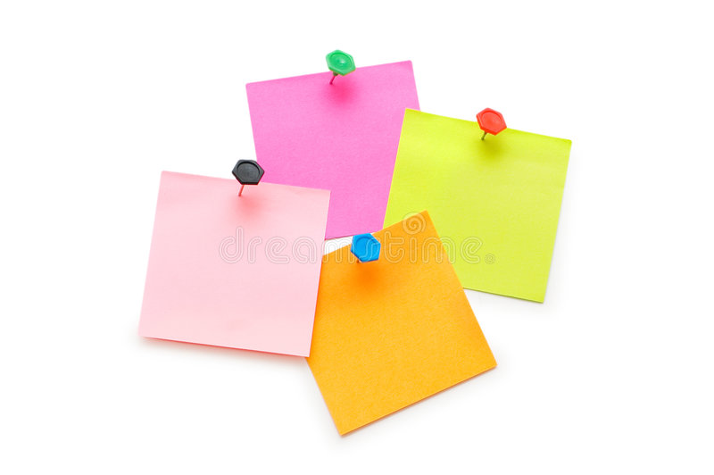 Note di post-it isolate fotografia stock