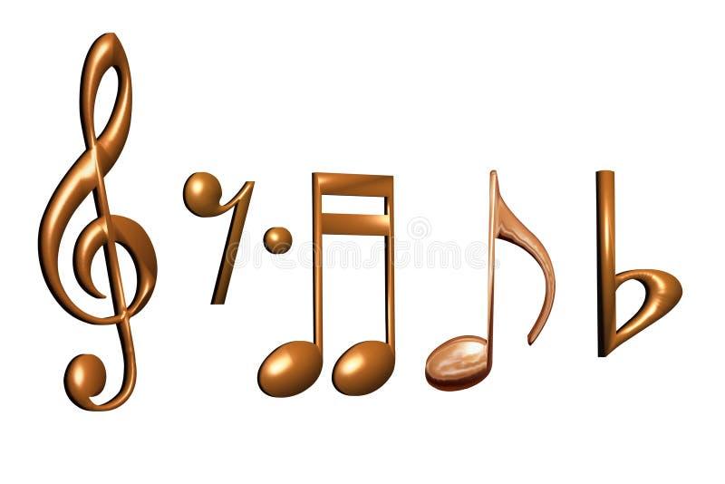 Note dorate di musica illustrazione di stock