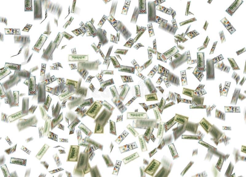 Note du dollar tombant vers le bas images libres de droits