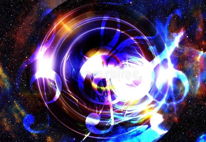 Note e chiave di musica nello spazio con le stelle Priorità bassa astratta di colore Concetto di musica royalty illustrazione gratis