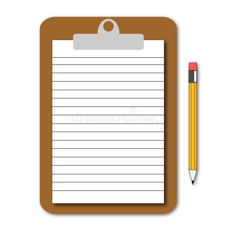 Note et crayon lecteur image stock