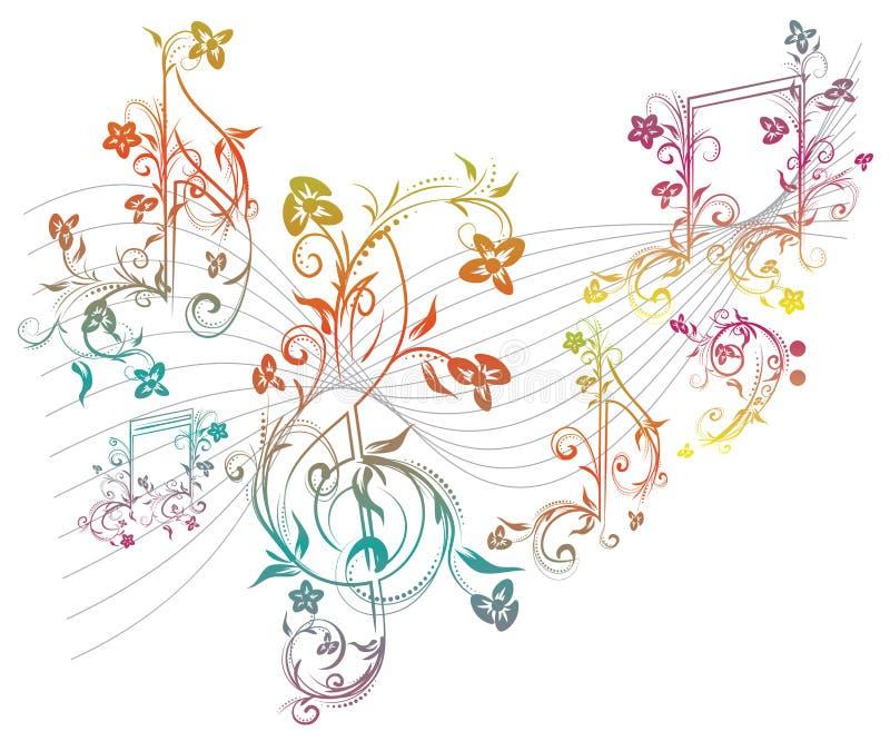 Note floreali di musica illustrazione vettoriale