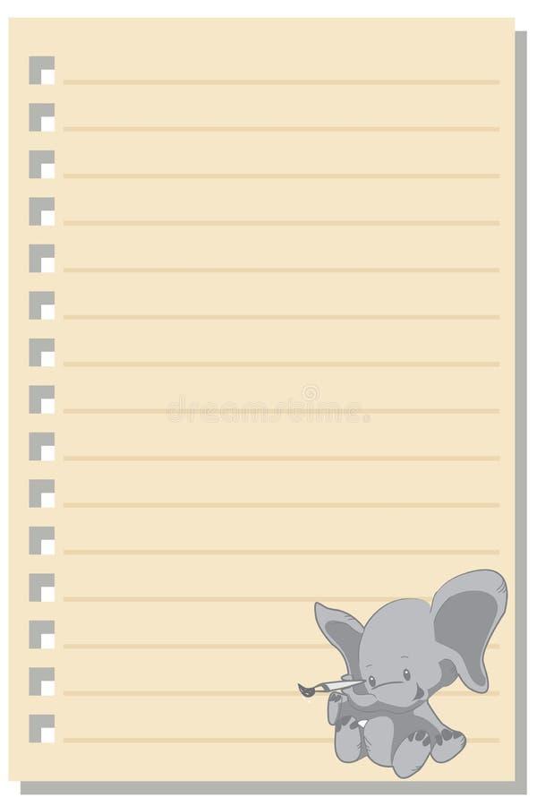 Note a folha 2 do papel do amor do elefante ilustração royalty free