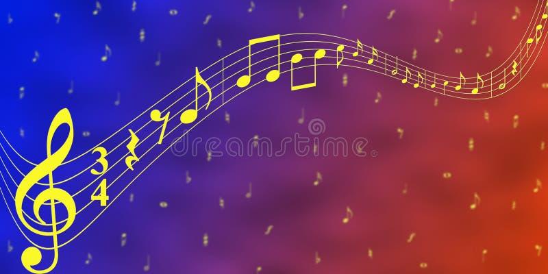 Note gialle di musica nel fondo blu e rosso dell'insegna illustrazione vettoriale