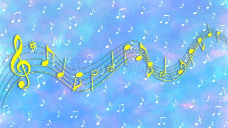 Note gialle e bianche di musica nel fondo variopinto del modello dell'acquerello illustrazione di stock