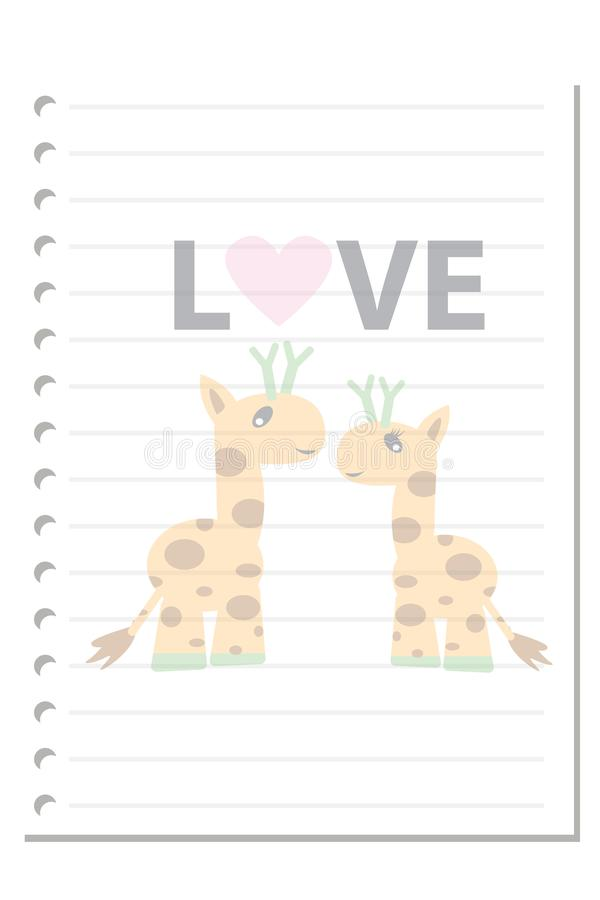 Note giraffe love paper sheet 2. Note paper isolated on white background blank pad notebook page memo post sheet torn notepad notepaper old ripped texture book royalty free illustration