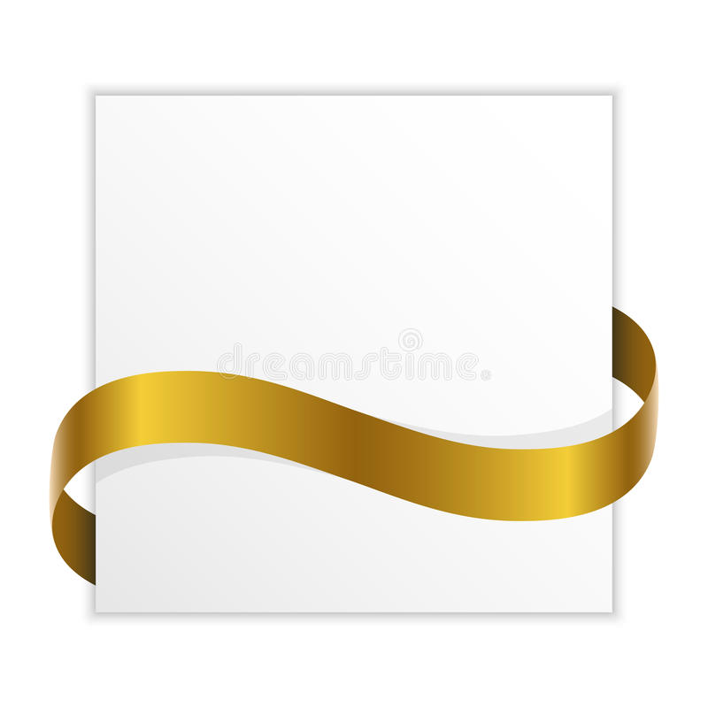 Note with golden ribbon for your text stock illustration