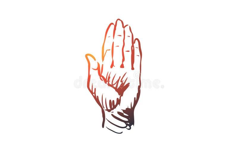 Note, Hand, Finger, Geste, Pressekonzept Hand gezeichneter lokalisierter Vektor stock abbildung