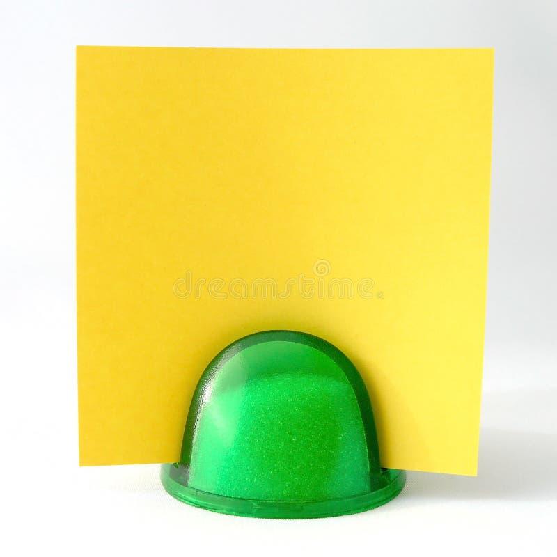 Note jaune image stock