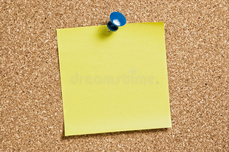 Note jaune de reste sur le liège image libre de droits