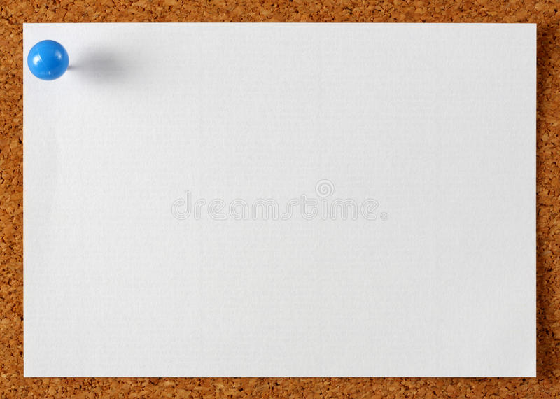 Note memo paper with blue pin royalty free stock photo