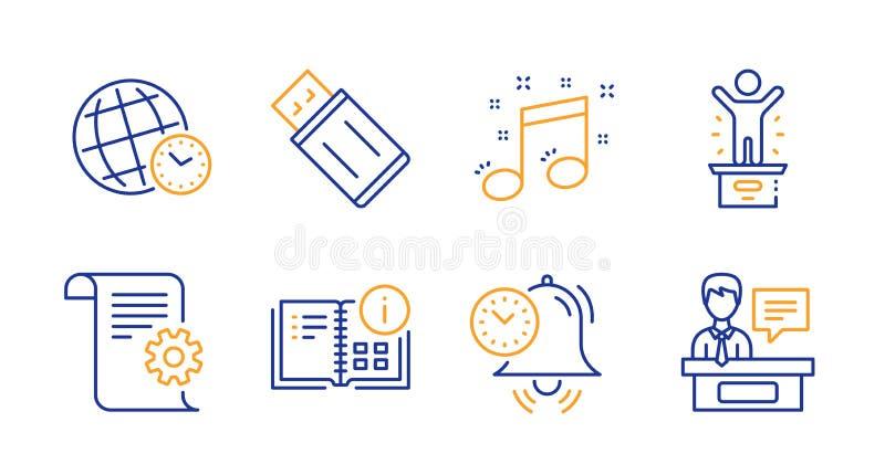 Note musicale, gestion du temps et ensemble d'icônes de fuseau horaire Éclair d'Usb, information d'instruction et signes de podiu illustration stock