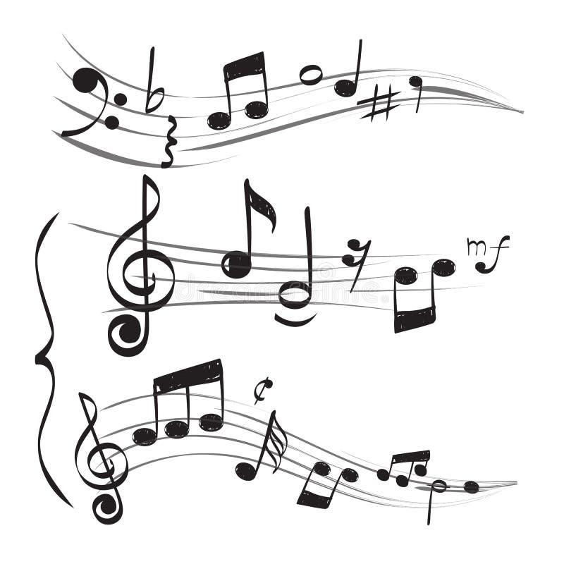 Note musicale La clef triple de personnel note les images tirées par la main de griffonnage de vecteur muzician de concept illustration stock