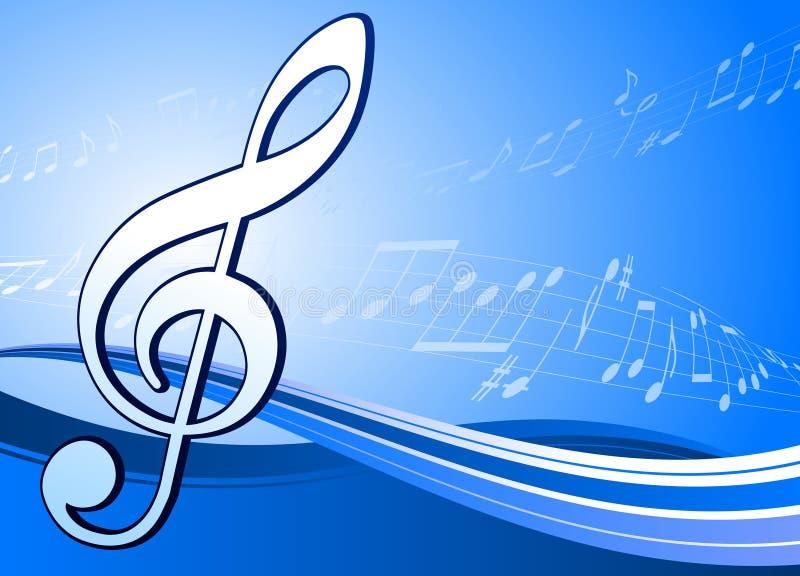 Note musicale sur le fond bleu abstrait illustration stock