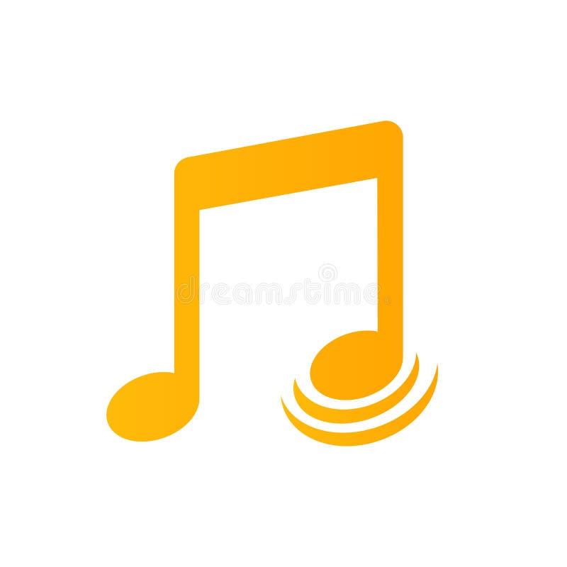Note musicali con il vettore dell'icona delle onde illustrazione di stock