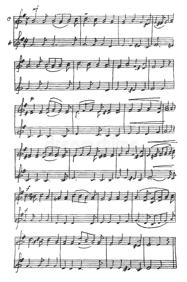 Note musicali Handmade. illustrazione di stock