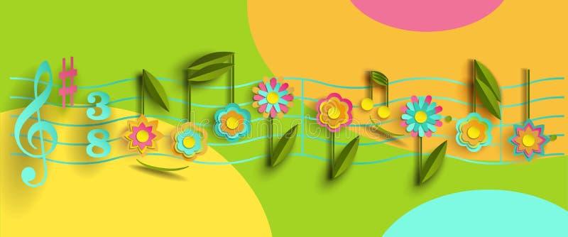 Note musicali sotto forma di fiori Stylization di carta illustrazione di stock