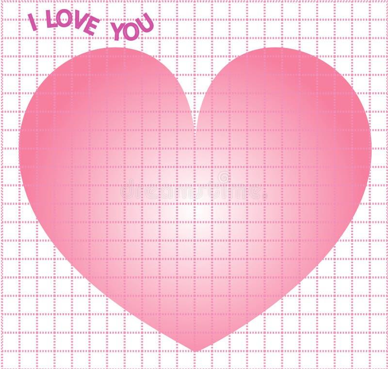 Note o projeto quadrado da grade eu te amo para o Valentim para imprimir o projeto no dia do ` s do Valentim do tema com coração  ilustração stock