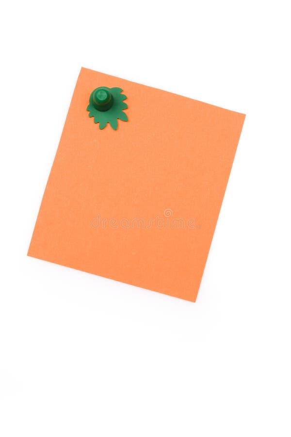 Note Orange Blanc Avec L Aimant Photographie stock libre de droits