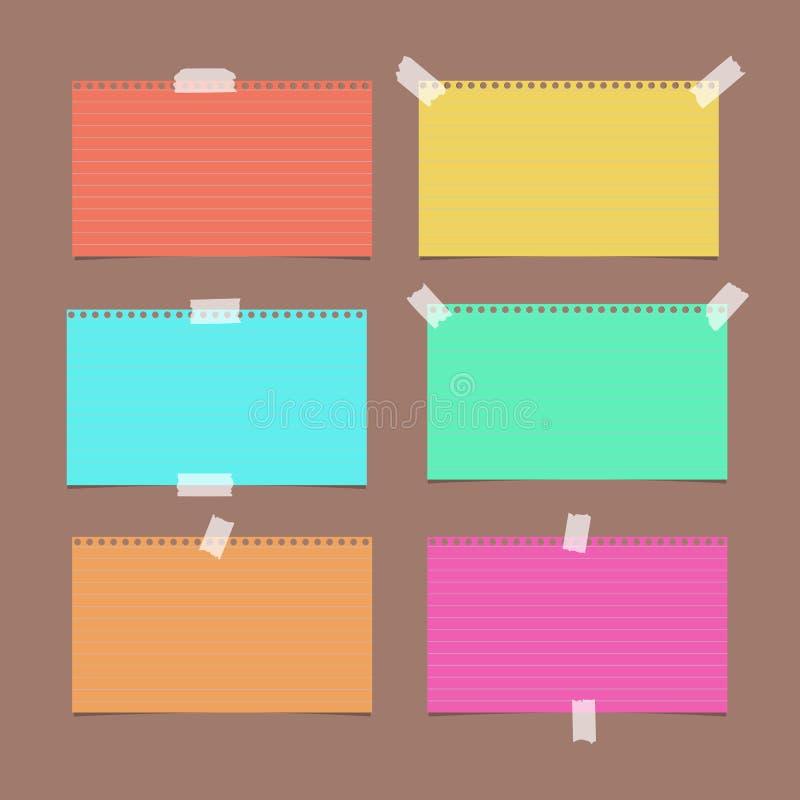 Note ordonnée et rayée colorée, cahier, feuille de papier de carnet sur le fond brun illustration stock