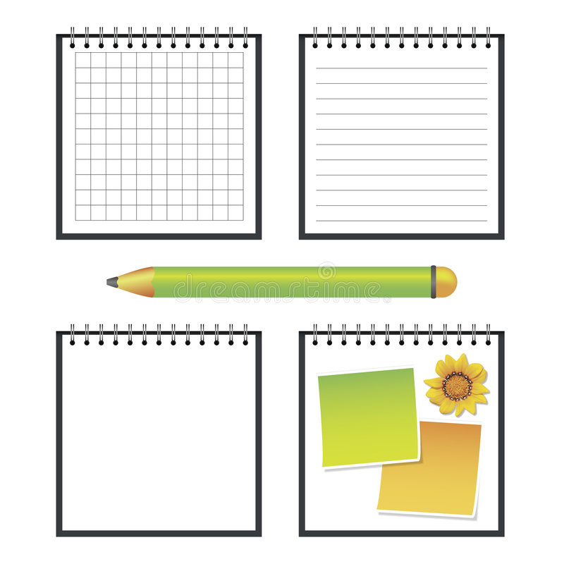 Note pad. Four vector note pad, with stripes, squares, white and with stickers, also included green pencil stock illustration