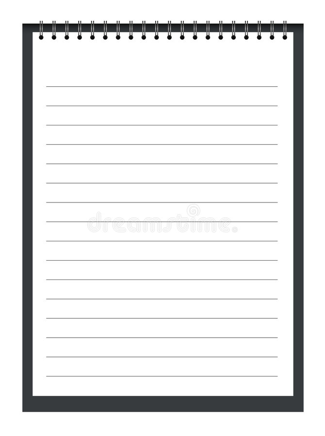 Note pad. White note pad with spiral royalty free illustration