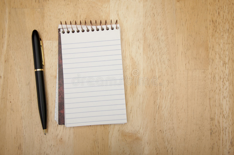 Download Note Pad And Pen On Wood Royalty Free Stock Images - Image: 4024449