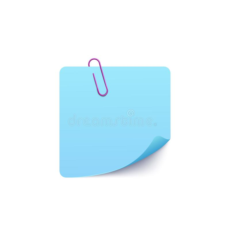 Note page climbed on paper clip, realistic vector mockup illustration isolated. royalty free illustration