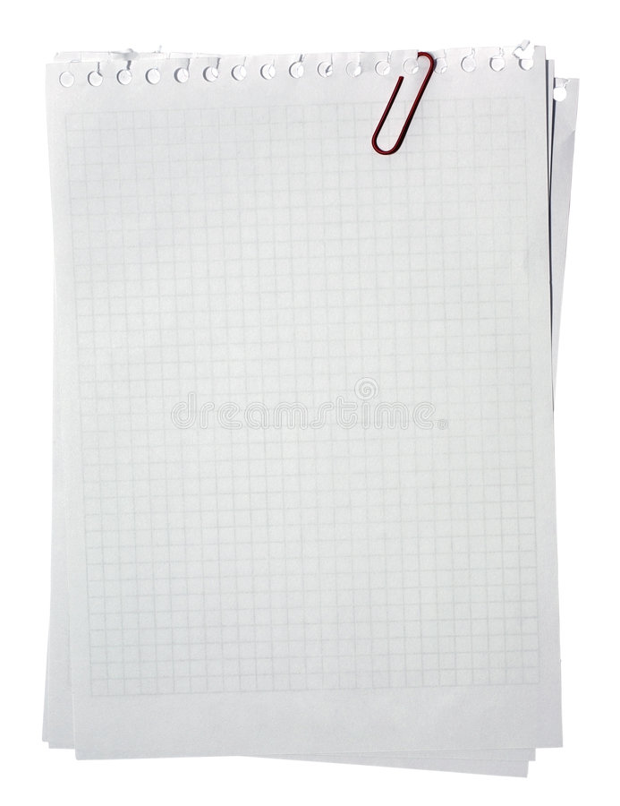 Download Note Pages Stacked With Red Clip. Stock Photo - Image: 8335354
