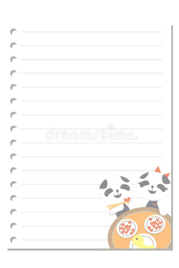 Note panda dinner love paper sheet. Note paper on white background blank pad notebook page memo post sheet torn notepad notepaper old ripped texture book with vector illustration