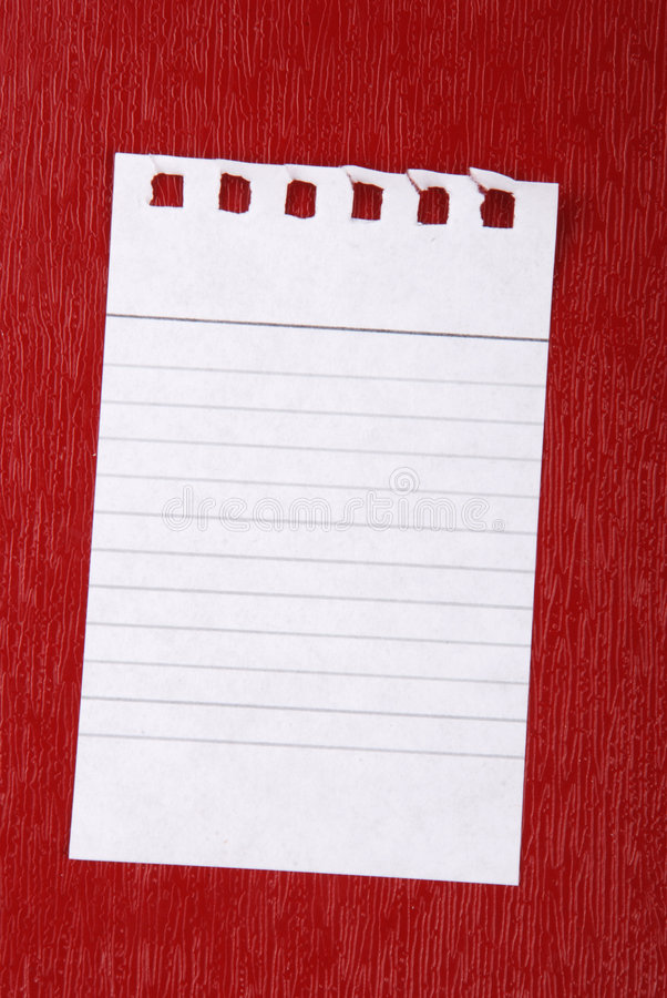 Note paper. Writing note paper on red background