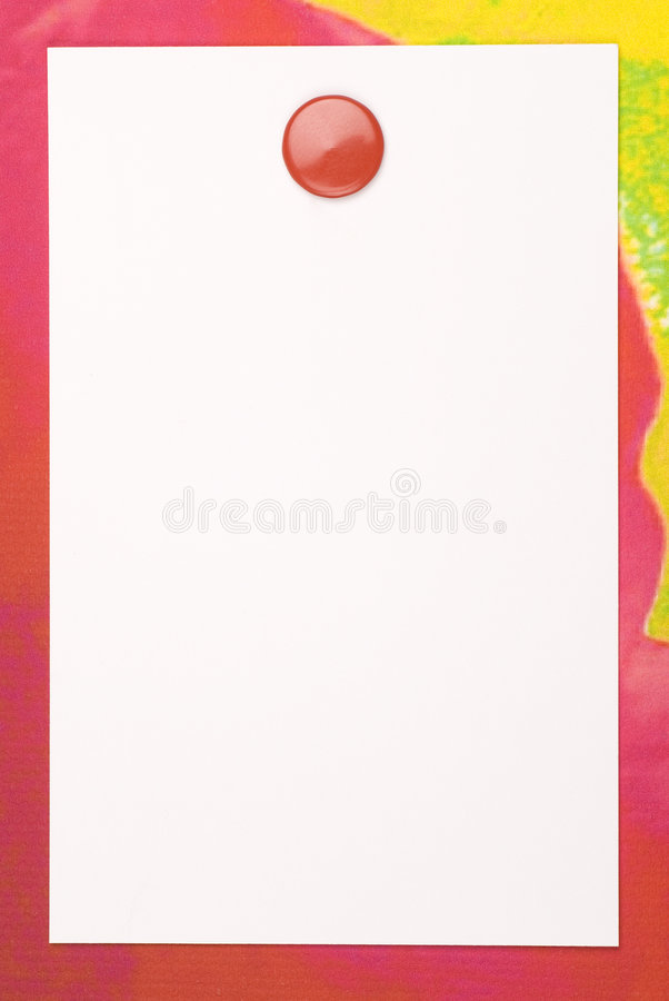 Note Paper. White blank note paper on painted canvas. Red thumbtack. Copy space stock photos