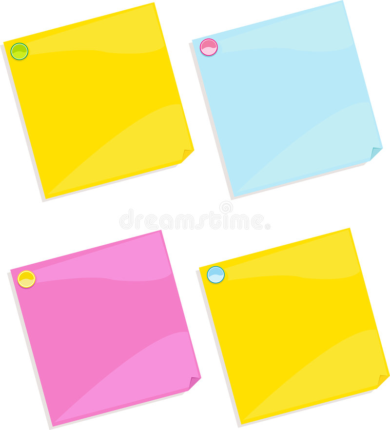 Note paper. Office notes sticky vector stock illustration