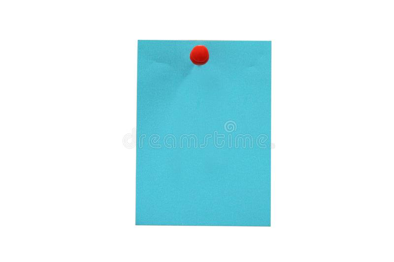 Note paper blue with a red push pin on white background. clipping path royalty free stock images