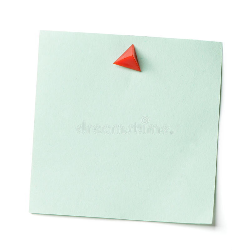 Note with a paper clip. Isolated on a white background with a shadow stock images