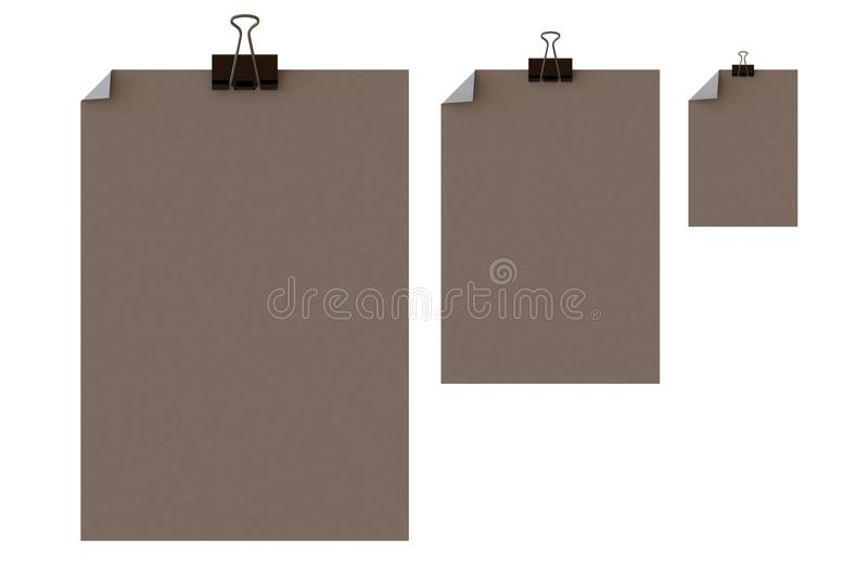 Note paper and clips. Colors stock photography