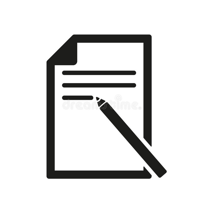 The note paper icon. Text file symbol. Flat stock illustration