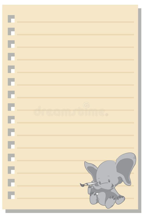 Note elephant love paper sheet 2. Note paper isolated on white background blank pad notebook page memo post sheet torn notepad notepaper old ripped texture book royalty free illustration