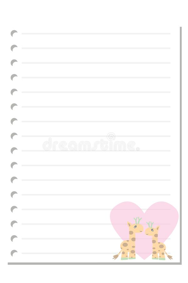 Note giraffe love paper sheet. Note paper isolated on white background blank pad notebook page memo post sheet torn notepad notepaper old ripped texture book vector illustration