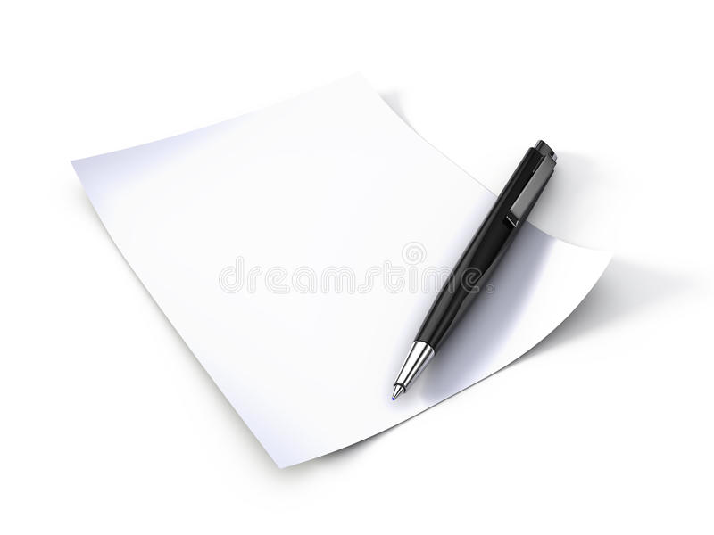 Download Note paper and pen stock illustration. Image of list - 14346364
