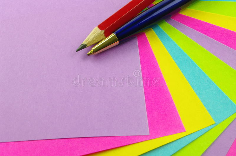 Download Note Paper With Pen And Pencil Stock Image - Image: 21357461