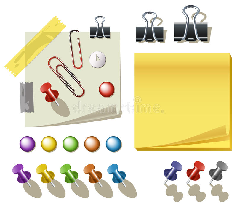 Note Paper With Pins And Clips royalty free stock photo