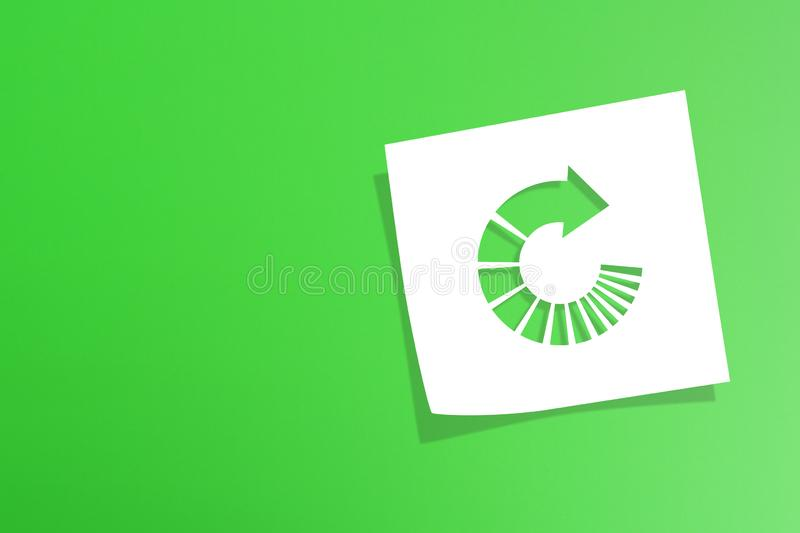 Note paper with recycle symbol on green background. Note paper with recycling symbol on green background royalty free stock images