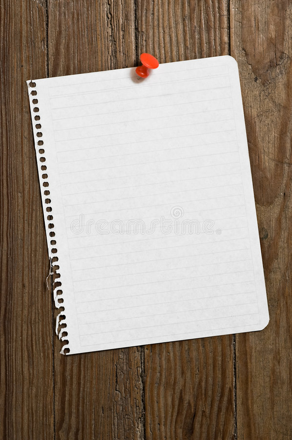 Download Note Paper With Red Thumbtack. Stock Image - Image: 9302749