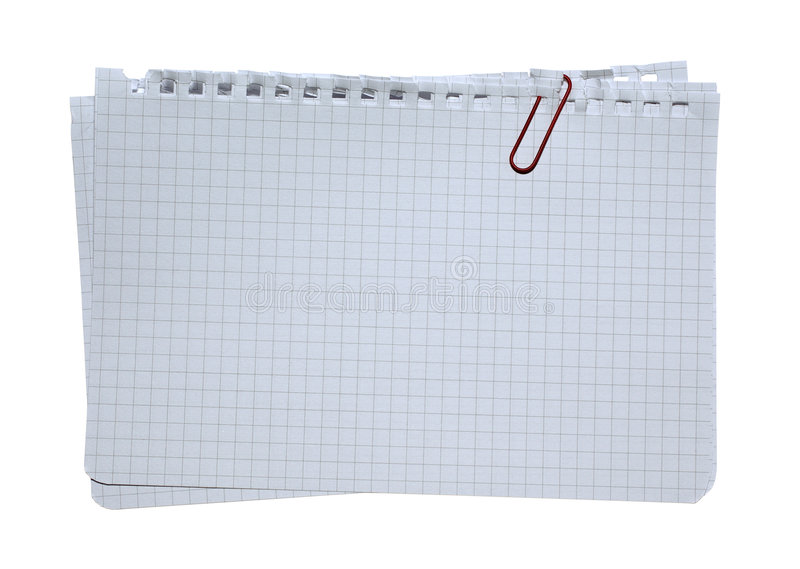 Note paper stacked with red clip.