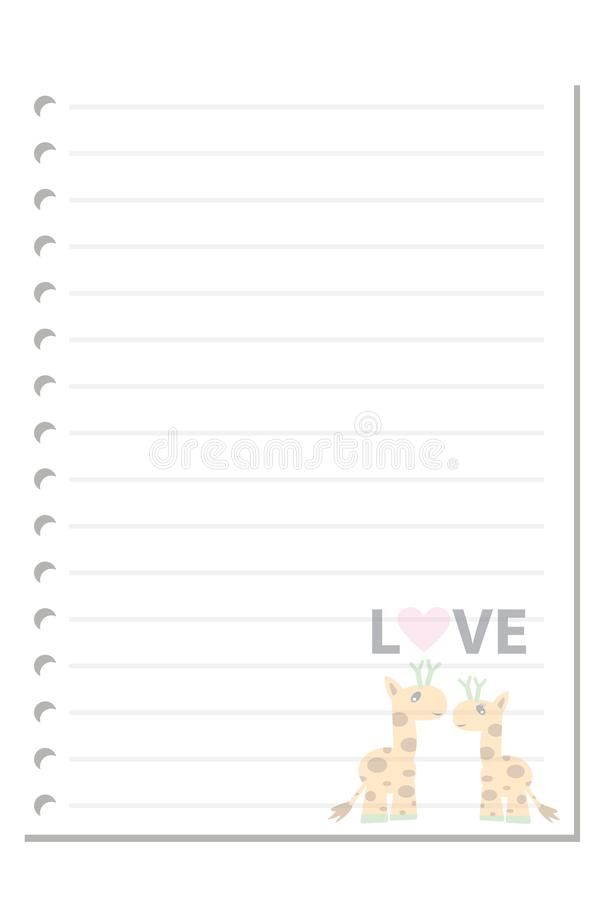 Note giraffe love paper sheet 3. Note paper on white background blank pad notebook page memo post sheet torn notepad notepaper old ripped texture book with royalty free illustration