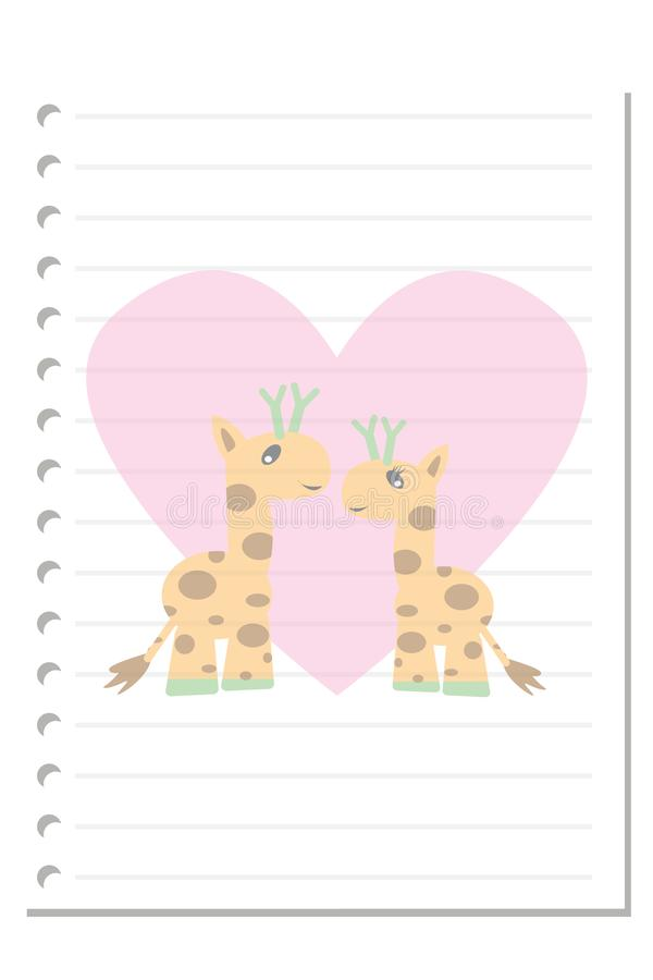 Note giraffe love paper sheet 4. Note paper on white background blank pad notebook page memo post sheet torn notepad notepaper old ripped texture book with stock illustration