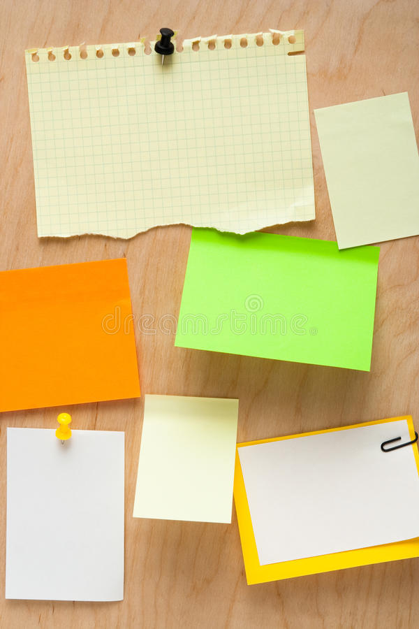 Note paper on wooden board stock photography