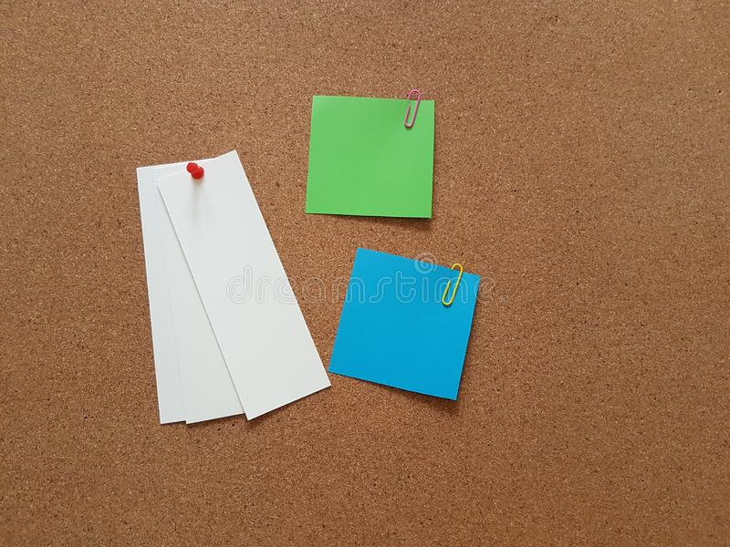Note papers pinned on cork board, Office supply, School supplies, Message board royalty free stock images